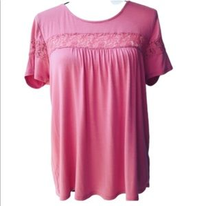 PINK ROSE VINTAGE TOP LACE ACCENTS HIGH LOW